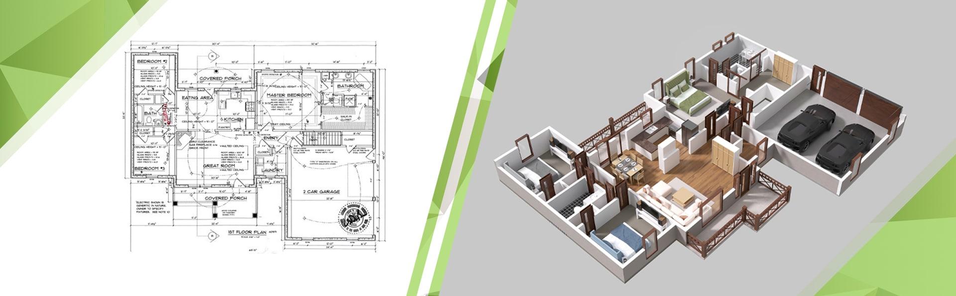 3d floor plan render day