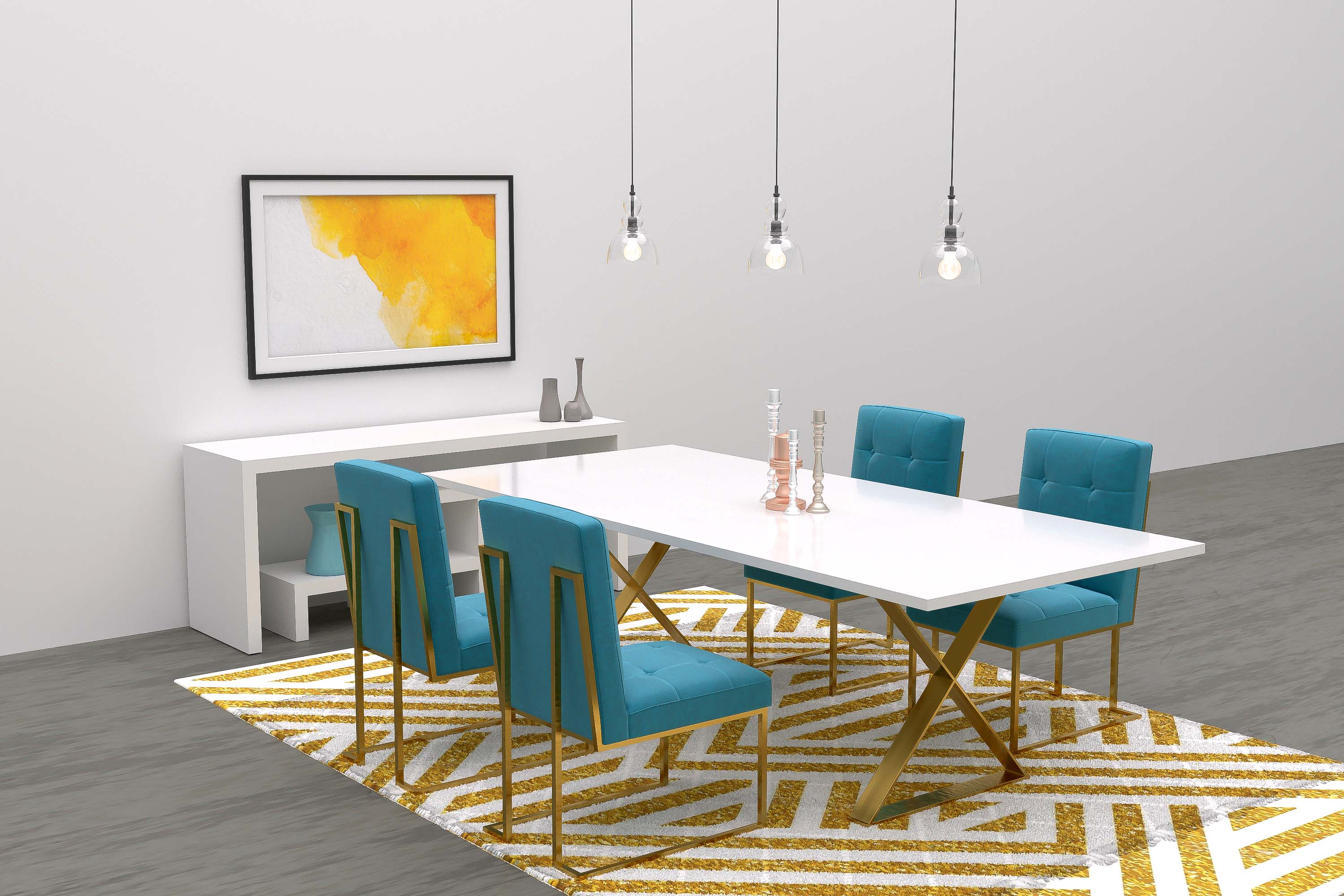 modern gold theme dining room virtual furniture