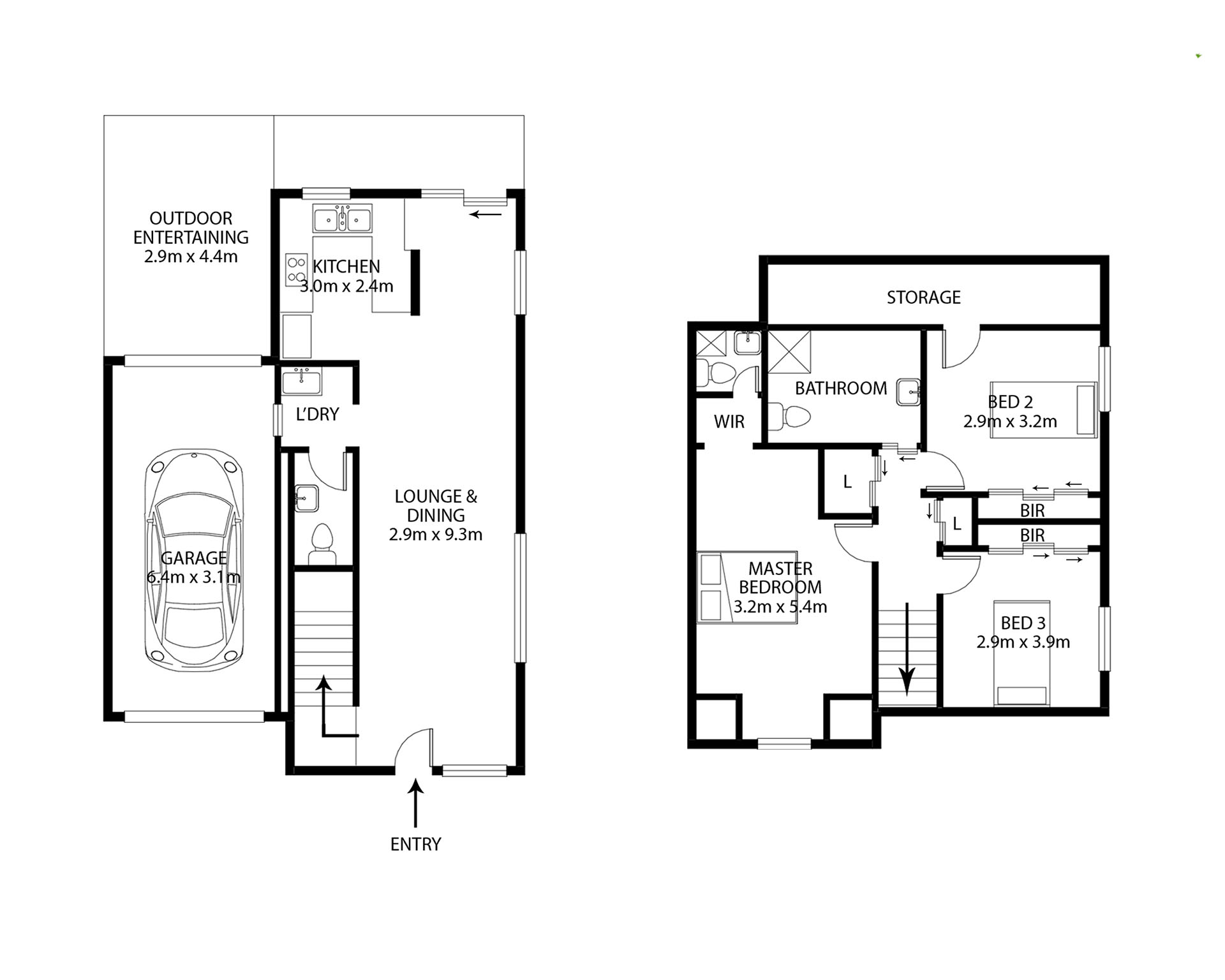 2D floor plan, black and white 2 storey