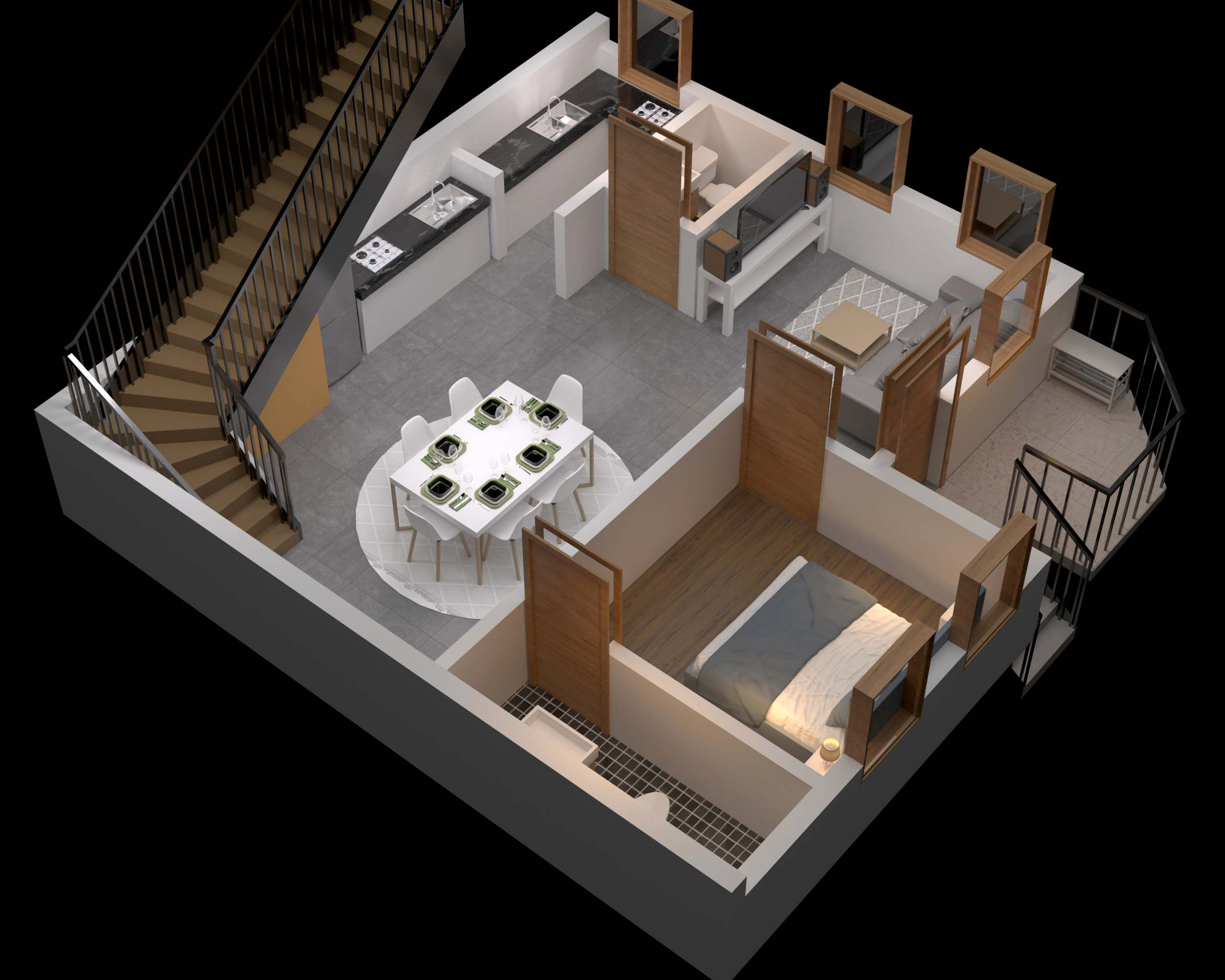 3D Floor Plan Twilight